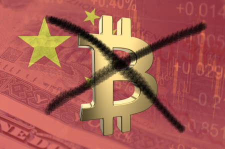 Strikethrough Bitcoin symbol, with the financial data and Chinese flag visible in the background. 3D rendering. Stock Photo