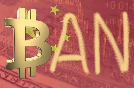 Bitcoin symbol and word ban, with the financial data and Chinese flag visible in the background. 3D rendering. Stock Photo