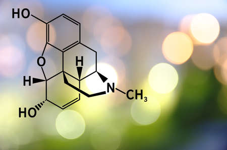 Chemical structure of morphine. Stock Photo