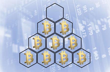 Pyramide avec symboles bitcoin. Rendu 3D Banque d'images - 87587746