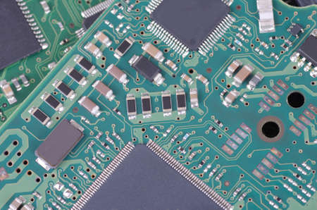 Surface-mount components on circuit board. Archivio Fotografico