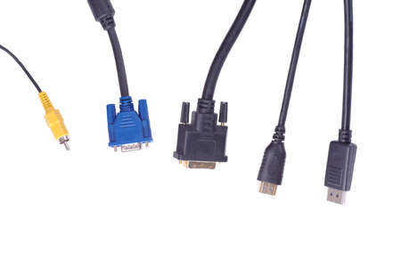 vga: RCA connector, D-SUB, DVI, HDMI and DisplayPort on white background.
