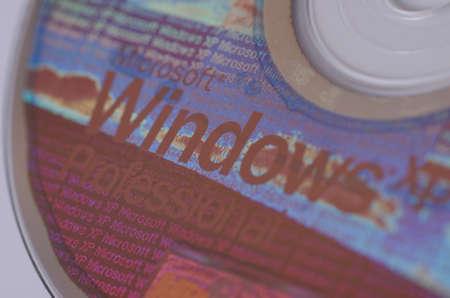 SARANSK, RUSSIA - NOVEMBER 05, 2017: Windows XP CD disc closeup. Editorial