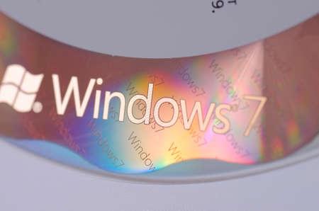 サランスク、ロシア - 2017 年 11 月 5 日: Windows 7 ディスクのクローズ アップ。