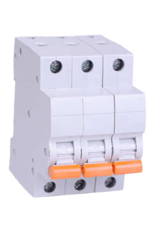 Set of single-pole breakers on white background.