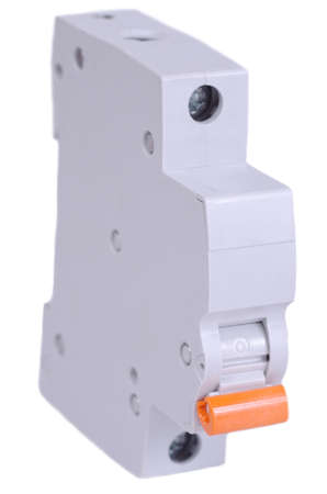 Single-pole circuit breaker on white background.