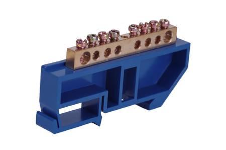 Neutral bar on blue DIN rail clip.