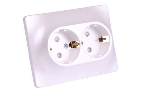 Double socket-outlet two-circuits earthed isolated on white background.