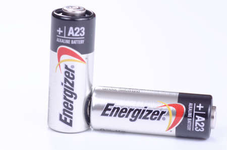 SARANSK, RUSSIA - NOVEMBER 19, 2017: Energizer A23 batteries on white background. Editorial