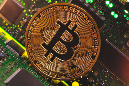 Bitcoin on a printed circuit board.
