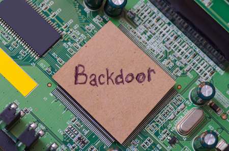 Backdoor word written on a PC.