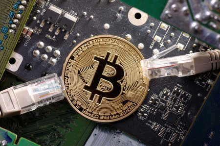 The bitcoin between the patch cables. Stock Photo