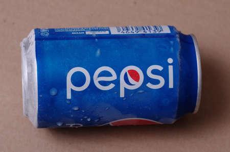 SARANSK, RUSSIA - JANUARY 04, 2018: Pepsi aluminum can close up.