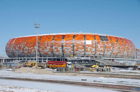 SARANSK, RUSSIA - MARCH 10, 2018: Mordovia Arena football stadium under construction.