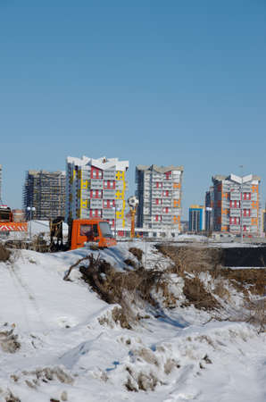 Saransk, Russia - March 10, 2018: Residential quarter under construction.