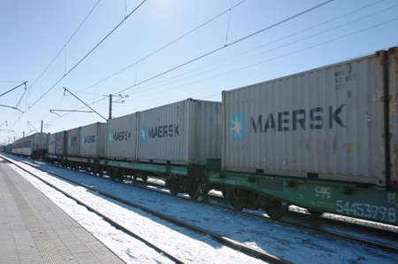 SARANSK, RUSSIA - MARCH 10, 2018: Freight train carrying containers through Saransk. Editorial