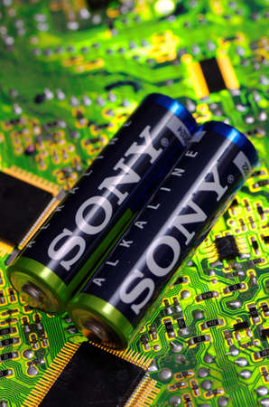 SARANSK, RUSSIA - MARCH 18, 2018: AA-sized alkaline batteries produced by Sony.