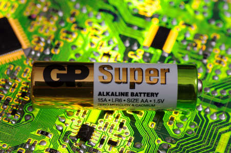 SARANSK, RUSSIA-MARCH 18, 2018: AA-sized alkaline battery produces by Gold Peak. Editorial
