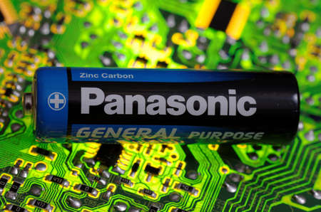 SARANSK, RUSSIA-MARCH 18, 2018: AA-sized alkaline battery produced by Panasonic.