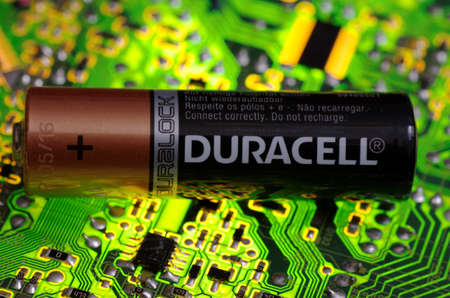 SARANSK, RUSSIA-MARCH 18, 2018: AA-sized alkaline battery produced by Duracell. Editorial