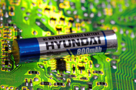 SARANSK, RUSSIA-MARCH 18, 2018: AAA-sized NiMH battery produced by Hyundai. Editorial