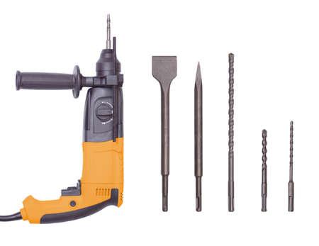 Rotary Hammer and various hammer drill bits close-up.
