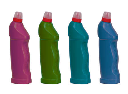 Four plastic bottles on a white background. Stock Photo