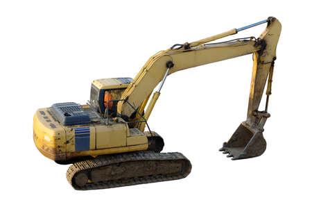 Hydraulic excavator isolated on white.