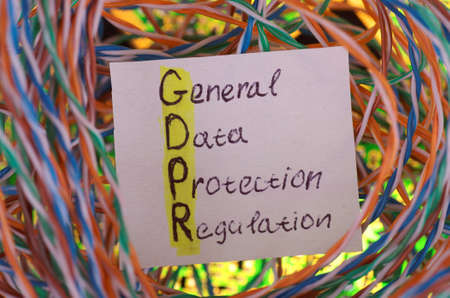 General Data Protection Regulation text on twisted pair. Stock Photo