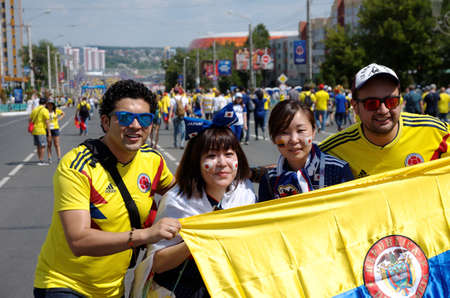 SARANSK, RUSSIA - JUNE 19, 2018: Football fans before football match between Columbia vs. Japan. Editorial