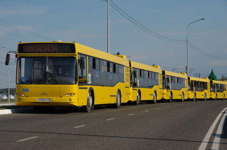 SARANSK, RUSSIA - JUNE 19, 2018: A line of low-floor buses. Editorial