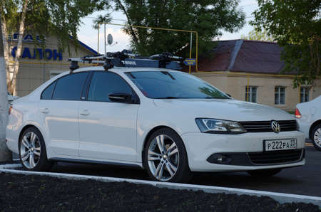 SARANSK, RUSSIA - JUNE 19, 2018: Volkswagen Jetta parked on city street.