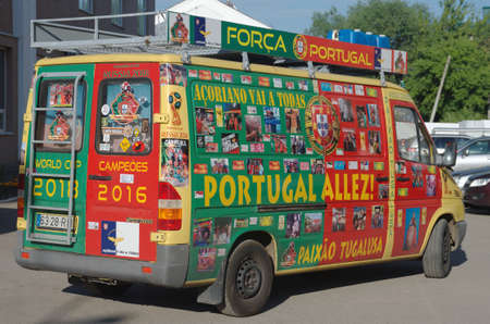 SARANSK, RUSSIA - JUNE 25, 2018: A colorful minivan of Portuguese football fans. Carlos Brum and Pedro Lobito have driven their camper van 7000 km from Lisbon to Russia.