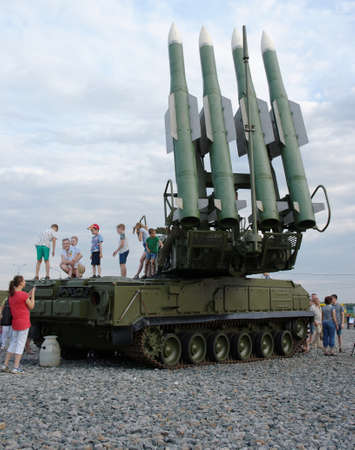 SARANSK, RUSSIA - JUNE 30, 2018: Parents take pictures of their children at Buk missile system.
