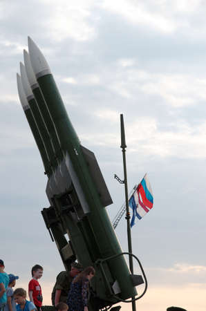 SARANSK, RUSSIA - JUNE 30, 2018: Buk missile system, Russian flag visible on the background. Editorial