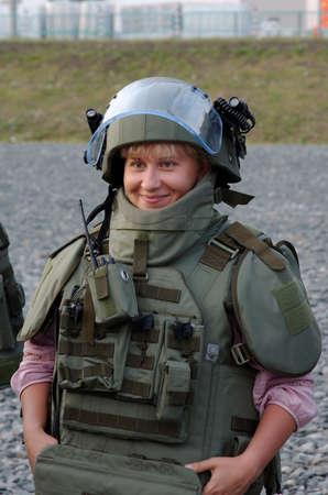SARANSK, RUSSIA - JUNE 30, 2018: Woman in bulletproof vest.