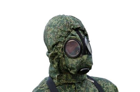 Portrait of a mannequin in a hazmat suit.