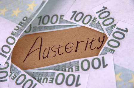 Handwriting text Austerity. Crisis economy concept.