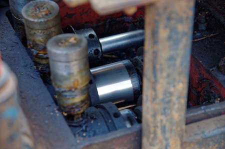 Hydraulic cylinder seen on directional boring unit.