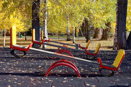 A set of playground seesaws. Фото со стока