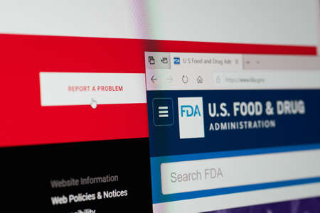 SARANSK, RUSSIA - APRIL 03, 2019: A computer screen shows details of Food and Drug Administration main page on its`s web site.