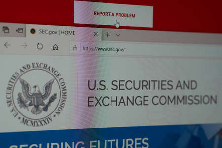 SARANSK, RUSSIA - APRIL 03, 2019: A computer screen shows details of U.S. Securities and Exchange Commission main page on its`s web site.