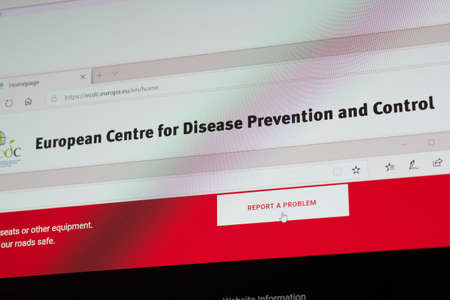 SARANSK, RUSSIA - APRIL 03, 2019: A computer screen shows details of European Centre for Disease Prevention and Control main page on its`s web site. Redakční