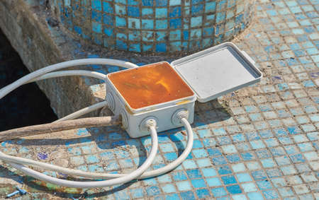 Underwater Junction Box at pool. 스톡 콘텐츠