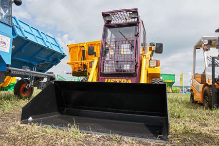 Goryainovka, Mordovia, Russia - June 28, 2019: The MKSM-800 multi-purpose utility construction machine at the public event Russian Plowing Championship.