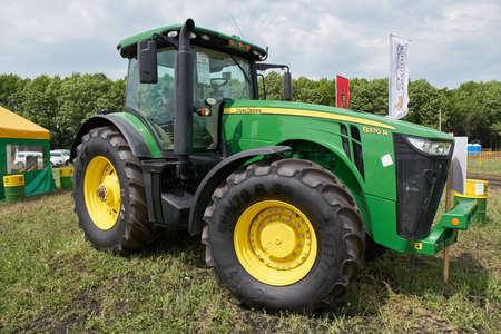 Goryainovka, Mordovia, Russia - June 28, 2019: A John Deere 8370R Tractor at the public event Russian Plowing Championship.