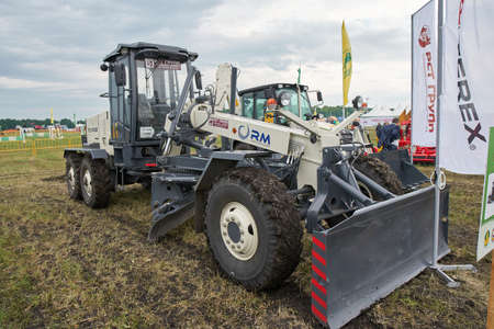 Goryainovka, Mordovia, Russia - June 28, 2019: A Motor grader RM-Terex GS-14.02 at the public event Russian Plowing Championship.
