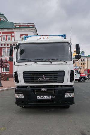 Saransk, Russia - October 04, 2019: A MAZ-6430 cab-over tractor unit. Editorial