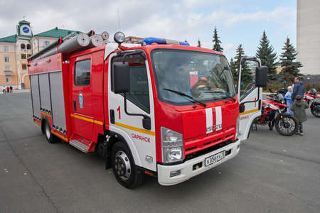 Saransk, Russia - October 04, 2019: Fire rescue vehicle based on Isuzu Elf. Editorial
