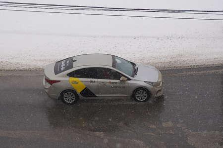 SARANSK, RUSSIA - APRIL 12, 2020: The Hyundai Solaris at city road.